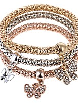 cheap -Women's Butterfly 3pcs Charm Bracelet Strand Bracelet - Sweet Rainbow Bracelet For Party Gift