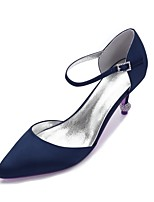 cheap -Women's Shoes Satin Spring Summer D'Orsay & Two-Piece Comfort Wedding Shoes Cone Heel for Wedding Party & Evening Black Silver Dark Blue