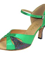 cheap -Women's Latin Shoes Satin Heel Customized Heel Customizable Dance Shoes Coffee / Green / Indoor
