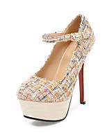 abordables -Femme Chaussures Similicuir Printemps / Automne Confort Chaussures à Talons Talon Aiguille Bout rond Boucle Blanc / Noir / Amande
