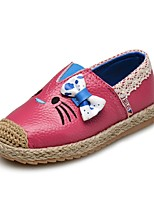cheap -Girls' Shoes Leather Spring Fall First Walkers Loafers & Slip-Ons Bowknot Gore for Casual Outdoor Black Peach Red Pink