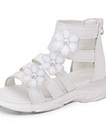 cheap -Girls' Shoes Cowhide Summer Comfort Sandals for Casual White Black Pink