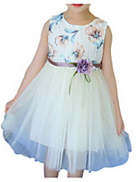 cheap -Girl's Daily Holiday Floral Dress, Polyester Summer Sleeveless Active White