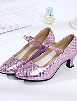 cheap -Women's Modern Shoes Leatherette Heel Indoor / Outdoor Customized Heel Customizable Dance Shoes Gold / Silver / Purple