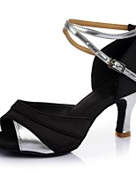cheap -Women's Latin Leatherette Satin Sandal Heel Party Indoor Splicing Customized Heel Silver 2 - 2 3/4inch Customizable
