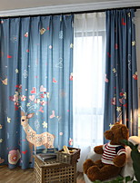 cheap -Curtains Drapes Living Room Floral Cotton / Polyester Printed
