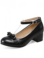 cheap -Women's Shoes Leatherette Spring / Fall Comfort / Novelty Heels Chunky Heel Round Toe Bowknot Black / Blue / Pink / Party & Evening