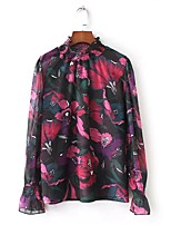 cheap -Women's Vintage Puff Sleeve Cotton Blouse - Solid Colored Floral, Tassel