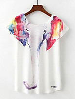 abordables -Mujer Básico Camiseta Arco iris / Animal