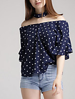 cheap -Women's Basic Blouse - Polka Dot, Print Boat Neck