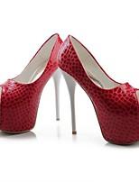 abordables -Femme Chaussures Polyuréthane Eté Escarpin Basique Chaussures à Talons Talon Aiguille Bout ouvert Noir / Rouge / Bleu