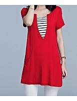 abordables -Mujer Básico Retazos Camiseta Un Color A Rayas
