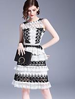 Недорогие -Жен. Классический Уличный стиль Оболочка Платье - Однотонный, Кружева Выше колена