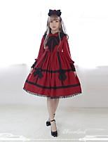 economico -Dolce Romantico Per donna Vestiti Cosplay Nero Rosso Lolita Manica lunga Al ginocchio