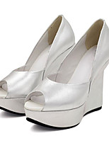 cheap -Women's Shoes Nappa Leather / Cowhide Spring / Summer Comfort / Basic Pump Heels Wedge Heel Peep Toe Silver
