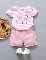 Недорогие -Дети (1-3 лет) Девочки Полоски Без рукавов Набор одежды