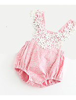 cheap -Baby Girls' Daily Holiday Patchwork One-Pieces, Cotton Polyester Summer Cute Sleeveless Blushing Pink 90 100