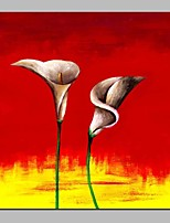 cheap -Oil Painting Hand Painted - Abstract Floral / Botanical Classic Canvas