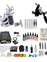 cheap -Tattoo Machine Starter Kit 1 steel machine liner & shader 1 alloy machine liner & shader Professional Level LCD power supply 2 x aluminum