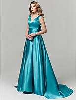 cheap -A-Line Princess V Neck Sweep / Brush Train Satin Prom / Formal Evening Dress with Bow(s) by TS Couture®