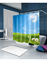 cheap -Shower Curtains & Hooks Contemporary Modern Polyester Solid Colored Machine Made Waterproof Bathroom