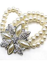 cheap -Women's Rhinestone Crystal Imitation Pearl Silver Plated Bangles - Metallic Circle Silver Bracelet For Wedding