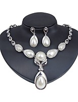 cheap -Women's Imitation Pearl / Silver Plated Floral Jewelry Set 1 Necklace / Earrings - Floral / Classic / Fashion Silver Jewelry Set / Bridal
