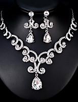 baratos -Mulheres Conjunto de jóias 1 Colar / Brincos - Fashion / Europeu Forma Geométrica Prata Conjunto de Jóias Para Casamento / Diário