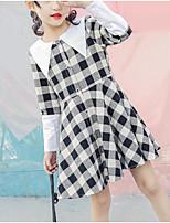 abordables -Robe Fille de Quotidien Couleur Pleine Damier Polyester Printemps Eté Manches Longues Mignon Chic de Rue Noir Rouge