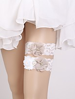 cheap -Chiffon Lace Sweet Style Wedding Garter 617 Faux Pearl Lace Garters Wedding Special Occasion
