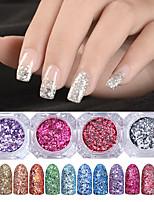 abordables -12pcs Sets d'Outil Glamour à Paillettes Nail Glitter Brillant Conseils d'art des ongles Nail Art Design