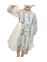 cheap -Girl's Daily Floral Dress, Polyester Summer Long Sleeves Basic Blushing Pink Beige