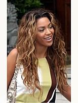 cheap -Unprocessed Wig Brazilian Hair Natural Wave Wavy Middle Part 130% Density With Baby Hair Dark Roots Ombre Hair Auburn Short Long Mid