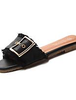 preiswerte -Damen Schuhe PU Sommer Komfort Slippers & Flip-Flops Flacher Absatz Runde Zehe für Schwarz Beige