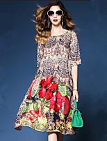 abordables -Femme Basique Courte Robe - Imprimé, Fleur Mi-long
