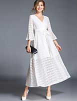 cheap -SHIHUATANG Women's Vintage Street chic Flare Sleeve A Line Swing Dress - Solid Colored Lace