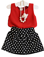 cheap -Girls' Daily Beach Solid Colored Polka Dot Clothing Set, Cotton Polyester Summer Sleeveless Cute Red