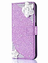 cheap -Case For Apple iPhone X iPhone 8 Plus Card Holder Wallet Rhinestone with Stand Flip Magnetic Full Body Cases Flower Glitter Shine Hard PU