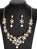 cheap -Women's Rhinestone Imitation Pearl Flower Jewelry Set 1 Necklace / Earrings - Elegant / Sweet Gold / Silver Jewelry Set For Wedding /