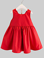 cheap -Girl's Daily Patchwork Dress, Rayon Summer Sleeveless Cute Red