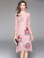 cheap -SHIHUATANG Women's Sophisticated Street chic Sheath Dress - Floral, Lace Embroidered