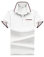 cheap -Men's Basic Cotton Polo - Solid Colored Print Shirt Collar / Short Sleeve