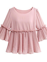 cheap -Women's Basic Blouse - Solid Colored, Pleated