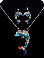 cheap -Women's Colorful Jewelry Set 1 Necklace Earrings - Colorful Ethnic Dolphin Rainbow Jewelry Set For Bar Club
