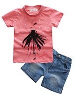 cheap -Girls' Daily Sports Print Clothing Set, Cotton Polyester Spring Summer Short Sleeves Active Street chic Blushing Pink