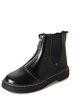 cheap -Women's Shoes PU Summer Combat Boots Boots Flat Heel Round Toe for Black
