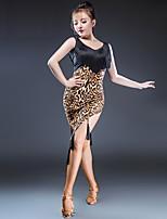 abordables -Danse latine Robes Femme Utilisation Soie Glacée Gland Sans Manches Robe