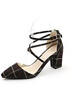 cheap -Women's Shoes PU(Polyurethane) Spring / Fall Comfort / Basic Pump Heels Chunky Heel Black / Beige
