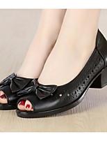 Недорогие -Жен. Обувь Наппа Leather / Кожа Весна / Осень Удобная обувь Обувь на каблуках На толстом каблуке Черный / Светло-серый