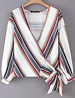 baratos -Mulheres Blusa Básico Laço,Listrado Estampa Colorida